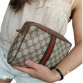 Gucci Vintage Vintage Vintage Vintage Purse Ophidia Brown Clutch Image 0