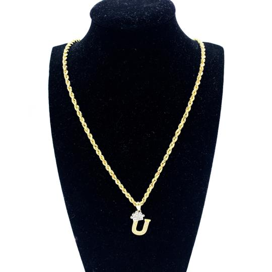 other (2001) 10K Yellow Gold Rope Chain With Initial U Charm Image 1