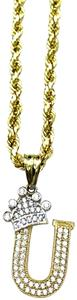 other (2001) 10K Yellow Gold Rope Chain With Initial U Charm
