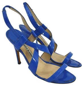 Manolo Blahnik #patent Leather #italian #leather #open Toe #summer BLUE Sandals