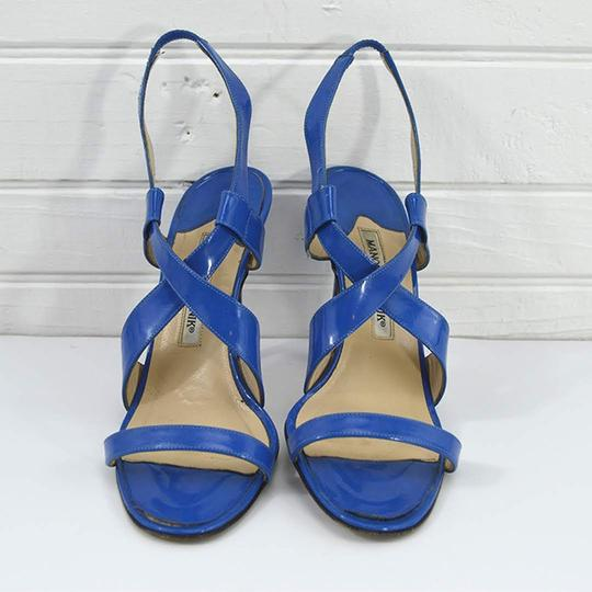 Manolo Blahnik #patent Leather #italian #leather #open Toe #summer BLUE Sandals Image 1
