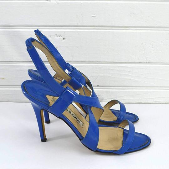 Manolo Blahnik #patent Leather #italian #leather #open Toe #summer BLUE Sandals Image 2