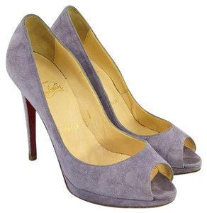 Christian Louboutin #suede #leather #red Sole #peep Toe #formal PURPLE Pumps
