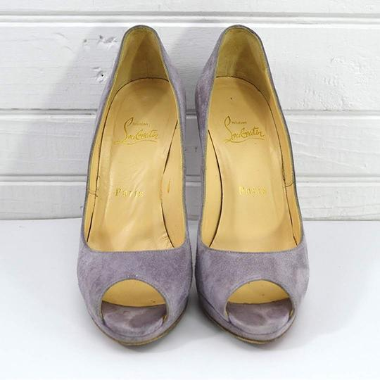Christian Louboutin #suede #leather #red Sole #peep Toe #formal PURPLE Pumps Image 1