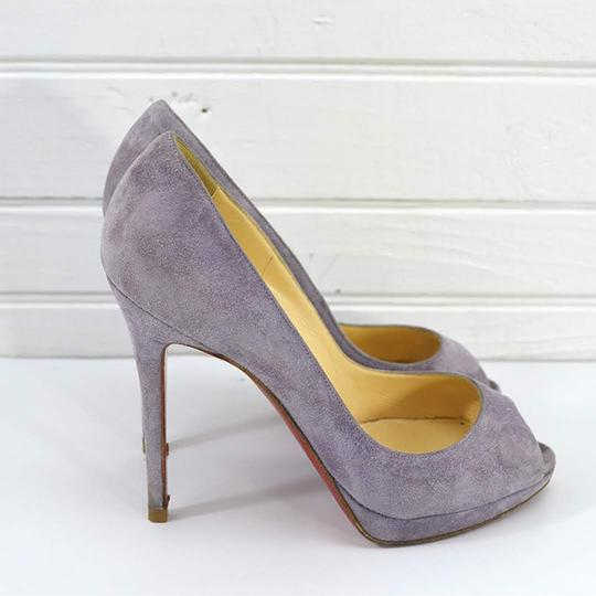 Christian Louboutin #suede #leather #red Sole #peep Toe #formal PURPLE Pumps Image 2