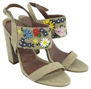 Tabitha Simmons #linen #floral #embroidered #retro #summer BEIGE/ MULTI Sandals
