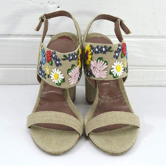 Tabitha Simmons #linen #floral #embroidered #retro #summer BEIGE/ MULTI Sandals Image 1