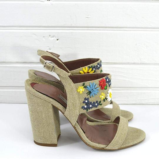 Tabitha Simmons #linen #floral #embroidered #retro #summer BEIGE/ MULTI Sandals Image 2