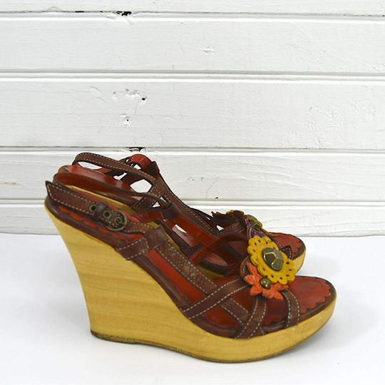Moschino #vintage #floral #studded #leather #bohemian TAN/ BROWN Sandals Image 2