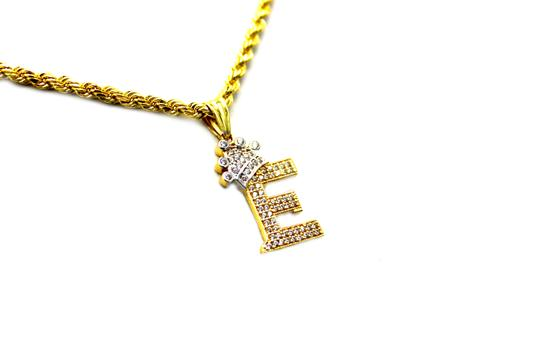 Other (2002) 10K Yellow Gold CZ Letter E With Rope Chain Necklace Image 1