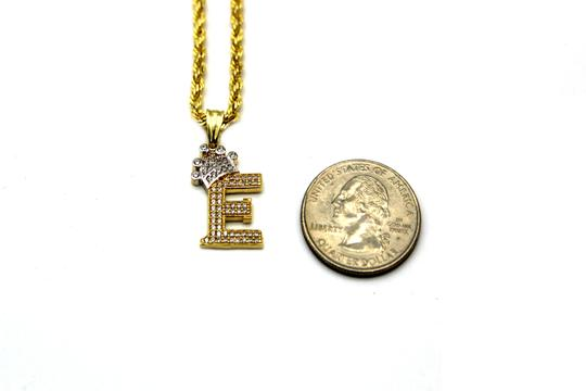 Other (2002) 10K Yellow Gold CZ Letter E With Rope Chain Necklace Image 2