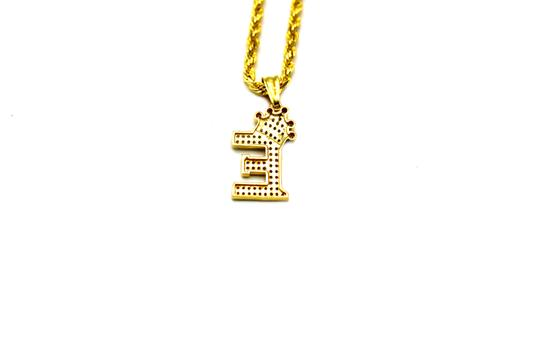 Other (2002) 10K Yellow Gold CZ Letter E With Rope Chain Necklace Image 3