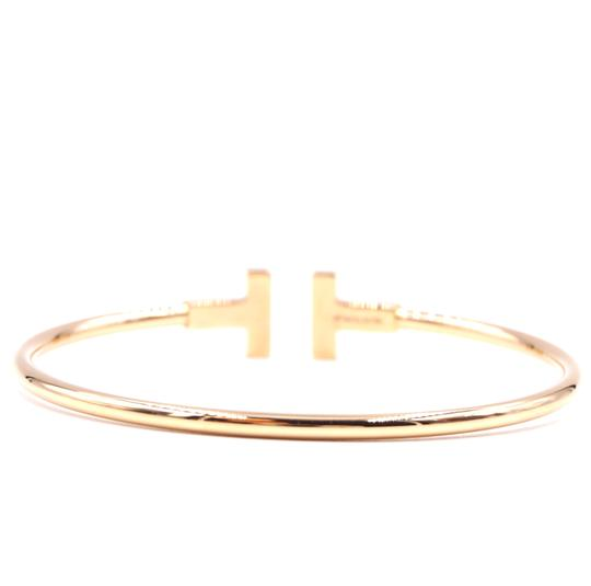 Tiffany & Co. T wire Logo Gold Cuff Bracelet Bangle Image 3