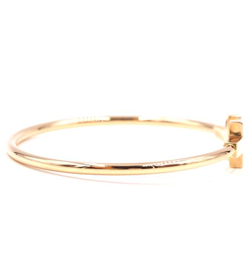 Tiffany & Co. T wire Logo Gold Cuff Bracelet Bangle Image 5
