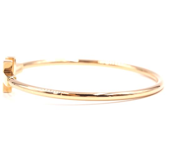 Tiffany & Co. T wire Logo Gold Cuff Bracelet Bangle Image 6