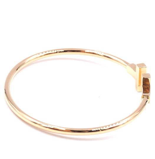 Tiffany & Co. T wire Logo Gold Cuff Bracelet Bangle Image 7