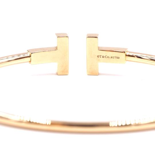 Tiffany & Co. T wire Logo Gold Cuff Bracelet Bangle Image 9