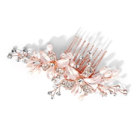 Rose Gold Fresh Water Pearls Crystals Hair Accessory Image 2