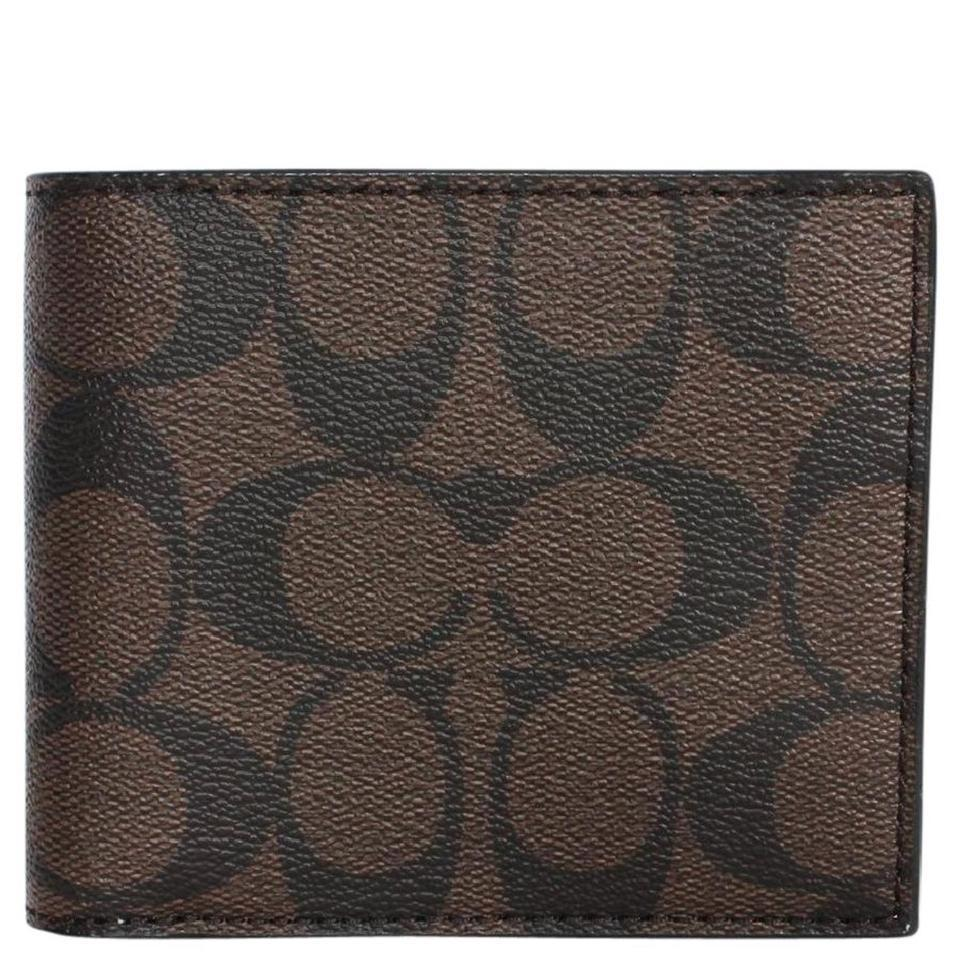 3c82a3935d4f Coach Multi ( Mahogany/Brown ) Compact Id In Signature F74993 Wallet 51%  off retail
