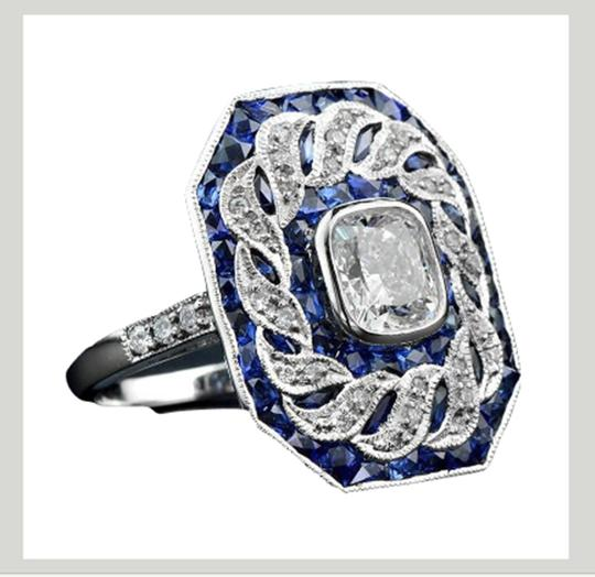 Fashion Jewelry For Everyone White 14k Gold Plated Sapphire Stone Women Party Size 7 8 9 Ring Image 2