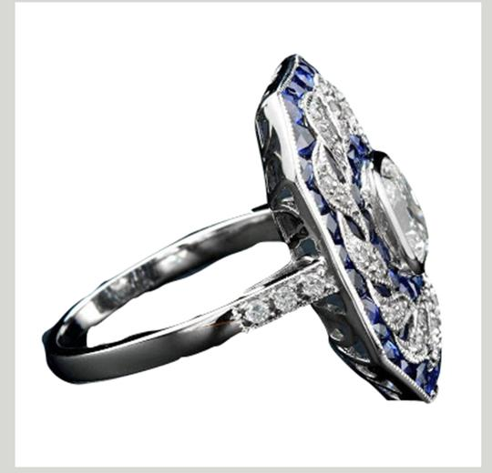 Fashion Jewelry For Everyone White 14k Gold Plated Sapphire Stone Women Party Size 7 8 9 Ring Image 4