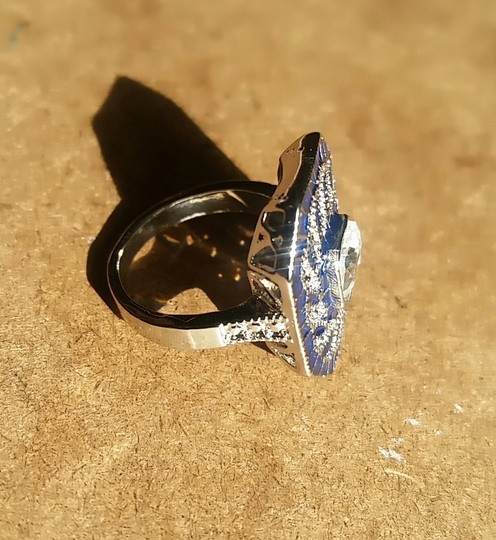 Fashion Jewelry For Everyone White 14k Gold Plated Sapphire Stone Women Party Size 7 8 9 Ring Image 6