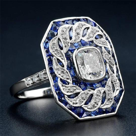 Fashion Jewelry For Everyone White 14k Gold Plated Sapphire Stone Women Party Size 7 8 9 Ring Image 7