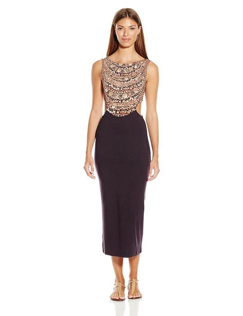 Item - Brown Necklace Cut-out Fitted Midi Dress Cover-up/Sarong Size 4 (S)