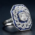 Fashion Jewelry For Everyone White 14k Gold Plated Sapphire Stone Women Party Size 7 8 9 Ring Image 1