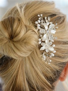 Silver Crystals Fresh Water Pearls Hair Accessory