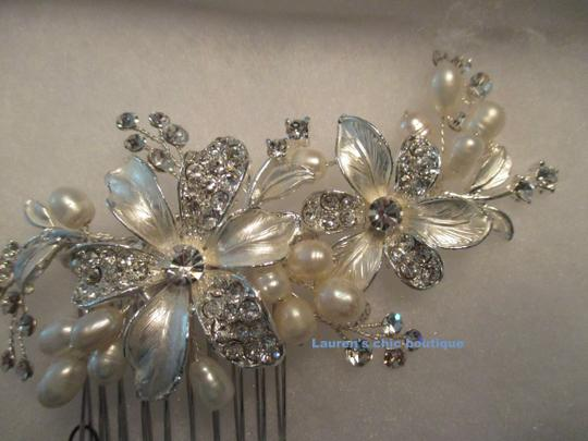 Silver Crystals Fresh Water Pearls Hair Accessory Image 2