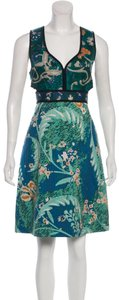Burberry Prorsum Cut-out Embroidered Green Blue Dress