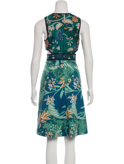 Burberry Prorsum Cut-out Embroidered Green Blue Dress Image 1