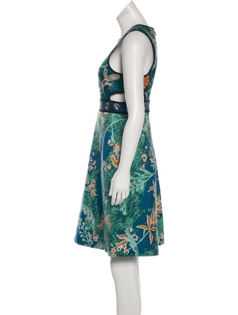 Burberry Prorsum Cut-out Embroidered Green Blue Dress Image 2