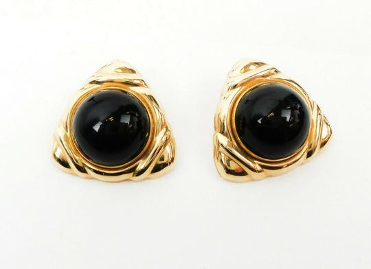Other 14K Onxy Cabochon Triangle Earrings Image 1