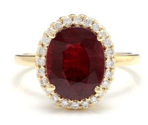 Other Yellow Gold 5.80 Carats Red Ruby and Natural Diamond 14k Solid Ring
