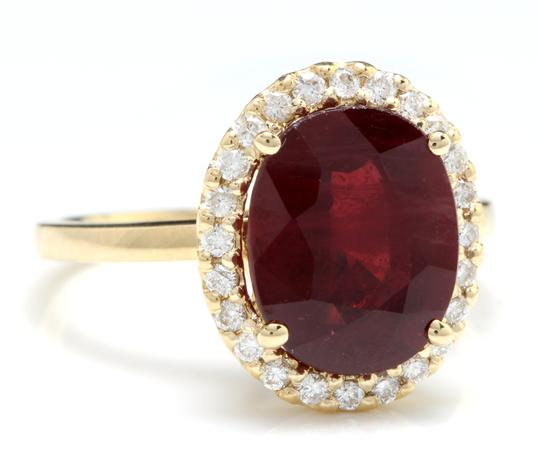 Other Yellow Gold 5.80 Carats Red Ruby and Natural Diamond 14k Solid Ring Image 1