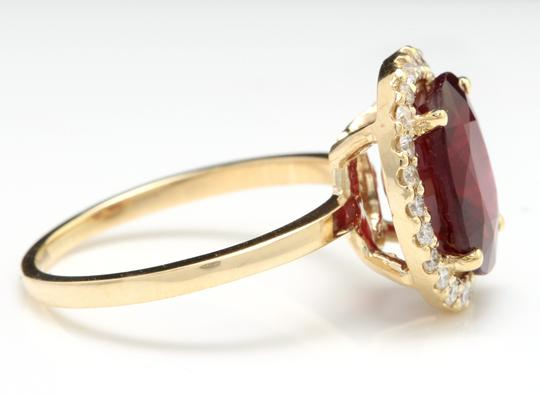Other Yellow Gold 5.80 Carats Red Ruby and Natural Diamond 14k Solid Ring Image 2