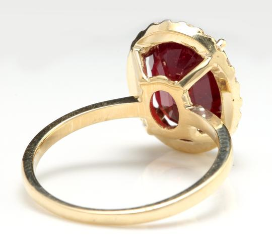 Other Yellow Gold 5.80 Carats Red Ruby and Natural Diamond 14k Solid Ring Image 3