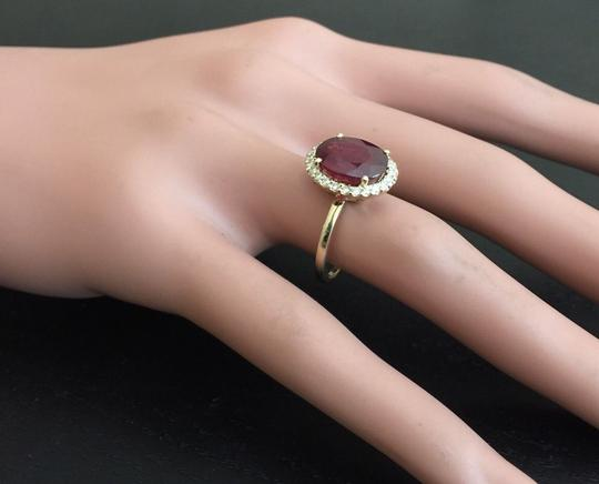 Other Yellow Gold 5.80 Carats Red Ruby and Natural Diamond 14k Solid Ring Image 4