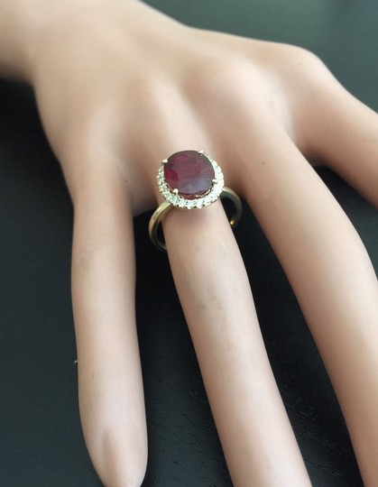 Other Yellow Gold 5.80 Carats Red Ruby and Natural Diamond 14k Solid Ring Image 6