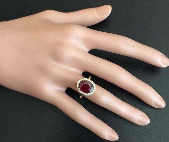 Other Yellow Gold 5.80 Carats Red Ruby and Natural Diamond 14k Solid Ring Image 7