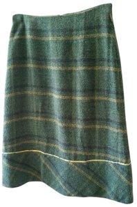 Oilily A-line Plaid Piping Skirt Greens and Blues