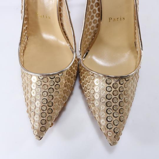Christian Louboutin Classic Lace Heels Sequin Heels Formal Gold Pumps Image 10