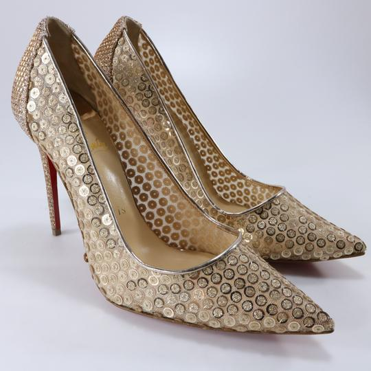 Christian Louboutin Classic Lace Heels Sequin Heels Formal Gold Pumps Image 2