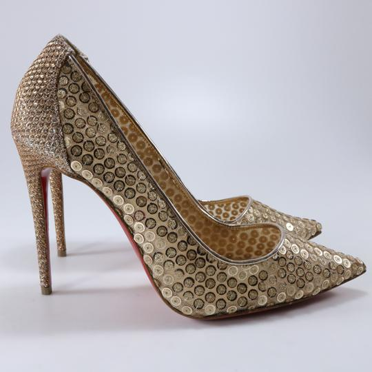 Christian Louboutin Classic Lace Heels Sequin Heels Formal Gold Pumps Image 3
