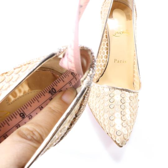 Christian Louboutin Classic Lace Heels Sequin Heels Formal Gold Pumps Image 5