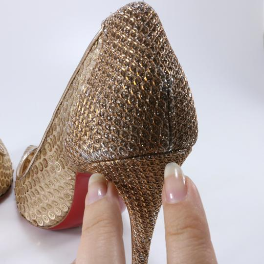Christian Louboutin Classic Lace Heels Sequin Heels Formal Gold Pumps Image 9
