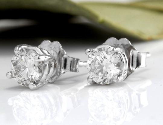 Other 1.00Ct Natural Diamond 14k Solid White Gold Stud Earrings Image 1