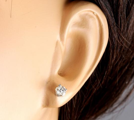 Other 1.00Ct Natural Diamond 14k Solid White Gold Stud Earrings Image 4